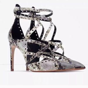 Zara snakeskin ankle strap heels